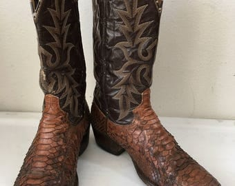 Brown men's boots from real python leather with embroidery, vintage style western cowboy boots old boots retro boots men's size-9 1/2-10 D.