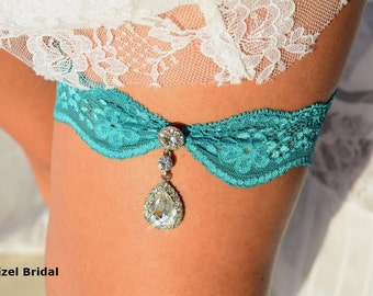 Teal Green Garter, Wedding Garters, Garter Set, Lace Garter, Bridal Garter, Wedding Garter Set, Rhinestone Garter, Color Garter, Teal Garter