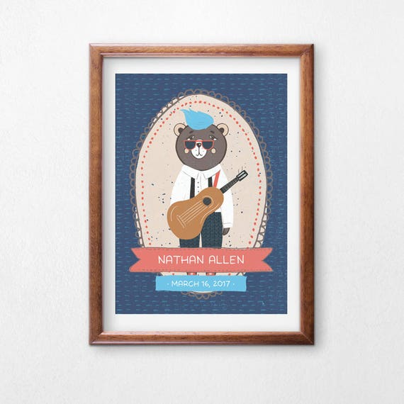 Printable Art, Hipster Guitar Bear, Custom Name and Birthday, Hipster Bear, Children's Art, Nursery Decor, Digital Download Print