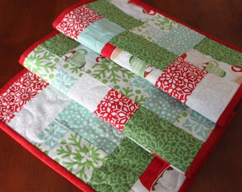 Aqua Quilted Christmas Table Runner, Christmas Table Runner, Handmade Table Runner, In From The Cold, Aqua Red Green White, Hot Chocolate