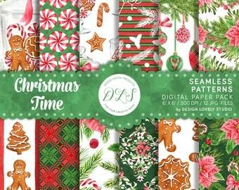Christmas Digital Paper Pack / Christmas Background / Poinsettia Paper / Winter Scrapbook Paper / Holiday Paper / Winter Digital /  DP116