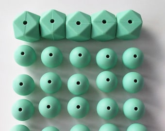 Pack 25 balls silicone Mint: 5 hex 17 mm + 20 balls 15mm - 5 hex Silicone silicone beads MINT 17 mm + 20 silicone beads 15mm