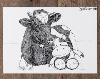 Yuna postcard with cow - vegan