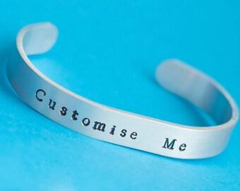 Customisable bracelet, custom bracelet, personalised bracelet, hand stamped bracelet, aluminium bracelet, bespoke bracelet, gift for her