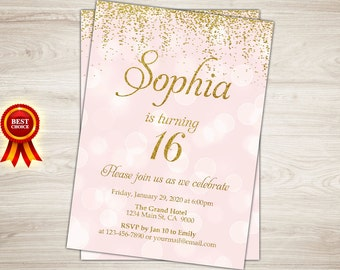 Sweet 16 Invitation. Sweet Sixteen Birthday Invite. Pink and gold glitter 16th birthday invite. Confetti printable. Quinceanera invitation