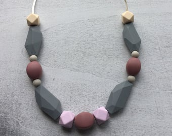 Lavender, Grey, and Cream Teething Necklace