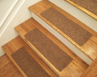 """Essential Carpet Stair Treads - Style Favorite - Color Maple Brown - Size 24"""" x 8"""" - Sets of 4, 7, 13, or 15"""