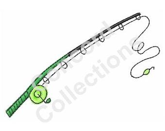 Fishing Rod Machine Embroidery Design