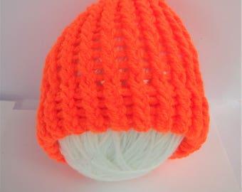 SUMMER SALE - Orange baby beanie, knit baby beanie, orange baby beanie, orange baby hat, newborn knit hat, orange baby cap, lelsloom