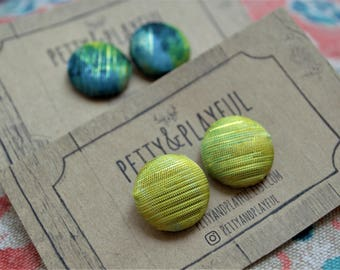Shimmer Gold and Green Button Earrings - Multiple Sizes