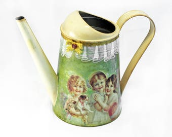 Metal Watering Can, Watering can, Housewarming gift, Decoupage watering can, Vintage watering can, Mothers day gift, Garden tool, Home decor