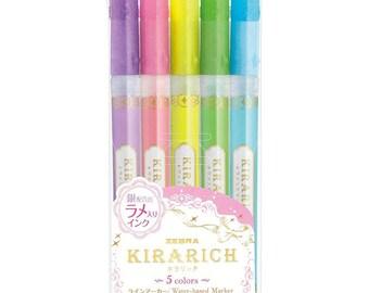 Zebra Kirarich Glitter Highlighter Pen Set of 5 - Zebra Marker Pen