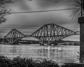 The Forth Bridge, Monochrome, Landscape Photography, scottish print, wall art, fine art photography, river, scottish photography, Bridge Art