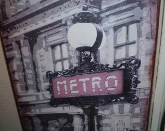 French Paris Metro Metal Wall Hanging Sign,Subway,Underground.Design 1,Home or Garden