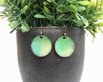 Green dome enamel earrings