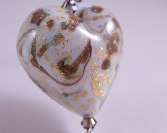 Glass Heart Necklace * White Gold Murano Glass Heart Jewelry * Speckled Artisan Glass Necklace * Heart Jewelry * Valentine's Heart