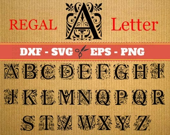 REGAL MONOGRAM SVG Files, Dxf, Eps & Png Files, Regal Svg Font Monogram, Silhouette, Cricut, Regal Monogram Svg Vector Cut Files