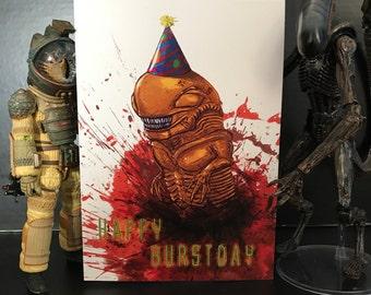 Alien Funny Horror Birthday Card