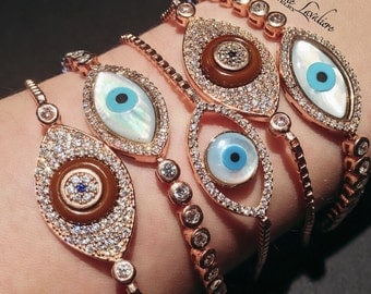 Sterling Silver NATASHA Evil Eye Tennis Bracelet rose gold diamond pearl