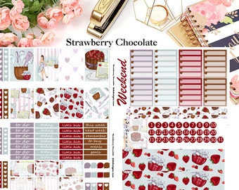Strawberry Chocolate, 4 page Kit//EC//HP//Choose your planner