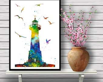 Colorful Lighthouse with Birds Flying, Watercolor Room Decor, Wall Hanging, Home Decoration, gift, print (373)
