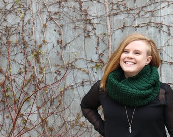 forest green double-wrap cowl