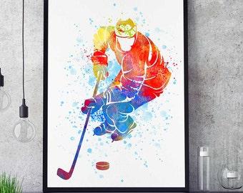 Hockey Decor, Ice Hockey Gifts, Sports Decor, Watercolor Print, Hockey Mom, Mothers Day (N013)