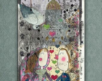WEDDING GIFT. Illustration. Print. Art. Home. Room. Wall. Decor. Drawing. Craft. Interior design. Marker. Poster. Engagement. Heart