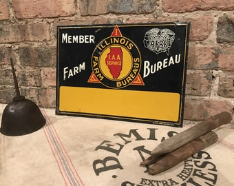 Vintage Unused Illinois AFBF Farm Bureau Metal Sign Reused New Haven Decor