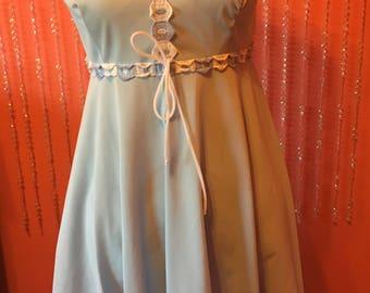 60's/70's pastel blue baby doll mini dress sheer slip dress
