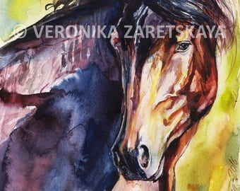 Instant DOWNLOAD or a Print and Ship - Aquarelle - Horse art - Beautyful horse painting - Watercolour horse - Brown horse