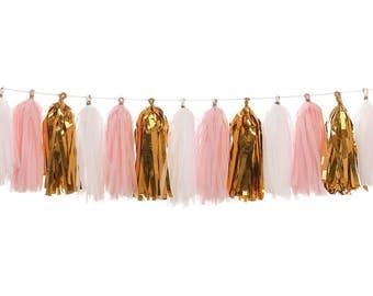 Pink + White + Metallic Gold | Tassel Garland | Metallic Tissue Tassel Garland | FOLI + LO