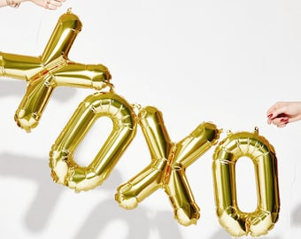 "XOXO Letter Balloons | 16"" Gold Letter Balloons 