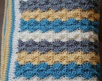 Striped Shell Baby Blanket | Baby Afghan | Baby Shower Gift | Baby Throw