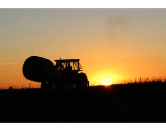 Tractor in the sunset, South Dakota, United States - photography - unframed print