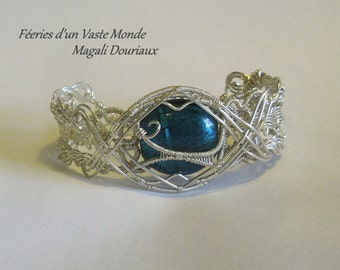 Venice blue pearl bracelet wire wrap jewelry