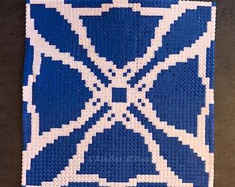 Decorative tile made of Hama beads