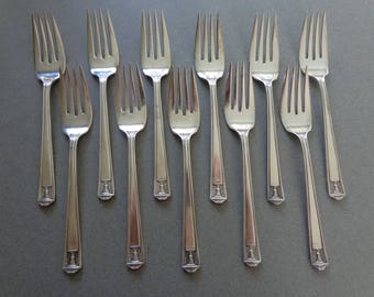 Century silverplate Flatware Holmes and Edwards silverware International Silver 11 Salad Forks 1925