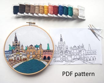 Seville Hand Embroidery pattern PDF. Embroidery Hoop art, Wall Decor, Housewarming Gift. Free Hand embroidery guide!