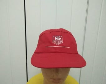 Rare Vintage TAG HEUER Spell Out Cap Hat Free size fit all Made in USA