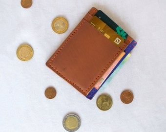 Full grain Leather Wallet, Compact Wallet, Leather Wallet for Men, Slim Wallet, Minimalist Wallet, Tan Wallet, Hand Made Leather Wallet