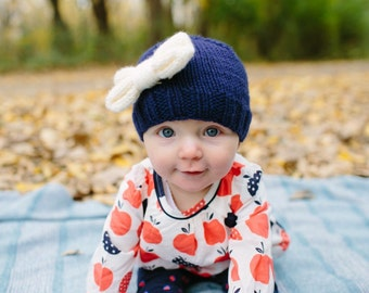Baby Girl Hat with Bow, Knitted Hat for Girl, Newborn Bow Hat, Navy Girl Beanie, Infant Winter Hat, Girl Coming Home Outfit, Girl Easter Hat