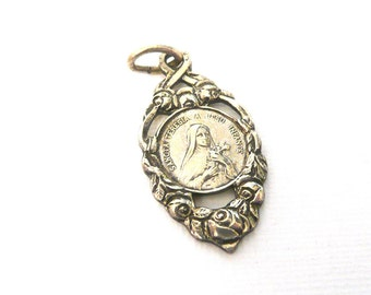 Saint Therese Medal, Vintage St Therese medal, french medal