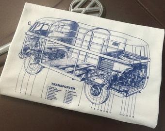 Classic Volkswagen Bus Blueprint T-shirt.  Full front print on a 100% cotton preshrunk Tee. White shirt, Blue ink print.