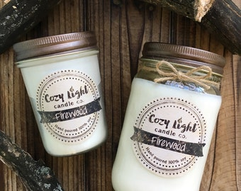 Firewood Soy Candle | Mason Jar Candle | Fireplace Scented | Masculine Scent | Campfire | Handpoured