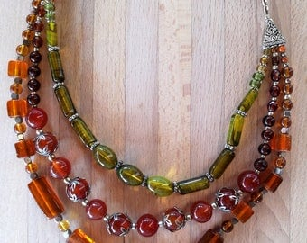Murano glass necklace with handmade clasp