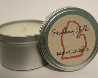 Strawberry Bellini Scented Soy Candle Tin or Wax Melt - Spring & Summer Fresh Scent - 4 or 8 ounce