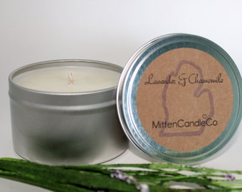 Lavender & Chamomile - Relaxing Soy Candle Tin or Wax Melt - Soothing Scent - 4 or 8 ounce
