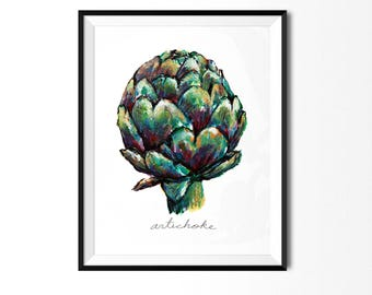 Artichoke Print, Vegetable Print, Art for Kitchen, Botanical Art, Colorful Kitchen Decor, Kitchen Print, Veggie Painting, Food Illustration