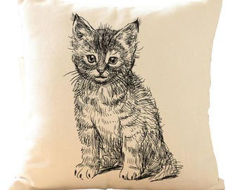 """Adorable Kitten Cat Drawing Cushion Cover with Cushion Insert Included- 18"""" by 18"""" -"""